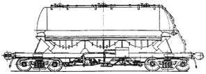 Eight-axle tank wagon for powdery cargoes